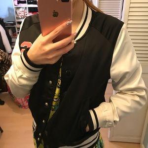 H&M Jackets & Coats - H&M Embroidered Satin Baseball Jacket
